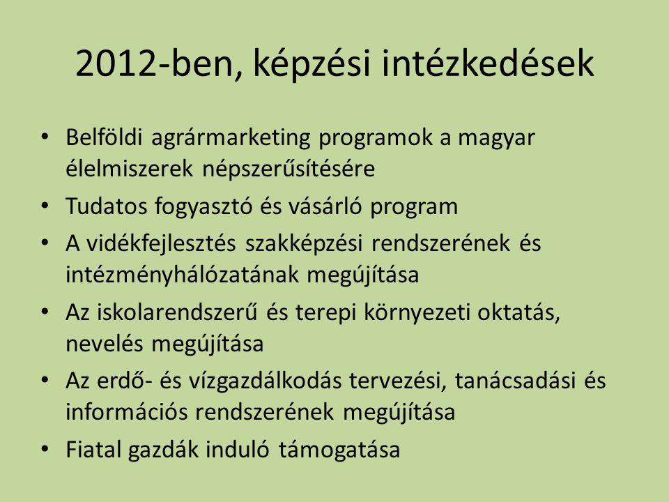 2012-ben, képzési intézkedések • Belföldi agrármarketing programok a magyar élelmiszerek népszerűsítésére • Tudatos fogyasztó és vásárló program • A vidékfejlesztés szakképzési rendszerének és intézményhálózatának megújítása • Az iskolarendszerű és terepi környezeti oktatás, nevelés megújítása • Az erdő- és vízgazdálkodás tervezési, tanácsadási és információs rendszerének megújítása • Fiatal gazdák induló támogatása