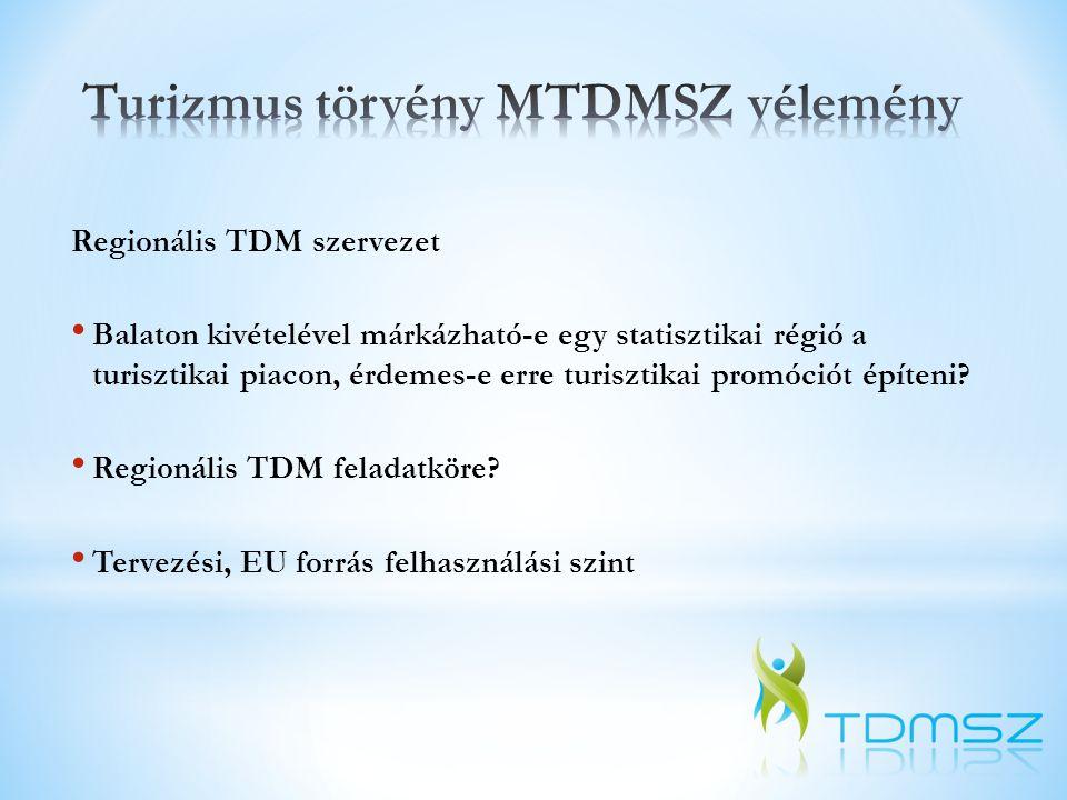 Regionális TDM szervezet • Balaton kivételével márkázható-e egy statisztikai régió a turisztikai piacon, érdemes-e erre turisztikai promóciót építeni?