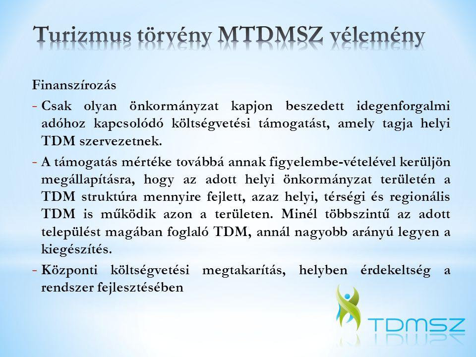 """Finanszírozás """"Ha a helyi önkormányzat illetékességi területén helyi TDM működik, a helyi önkormányzat … a költségvetési hozzájárulás 10%-át köteles a helyi TDM szervezet működésének finanszírozásához hozzájárulni. - A tervezet szerint egy 300 Ft-os IFA-val működő TDM szervezet esetében 100 ezer vendégéjszaka (tehát közepes desztináció) esetén az helyi TDM szervezet számára járó IFA-összeg (a teljesen belül 70%-os IFA kötelezett vendégéjt figyelembe véve) 3.150.000 Ft, ami TDM működtetés szempontjából értelmezhetetlenül alacsony forrást biztosít."""