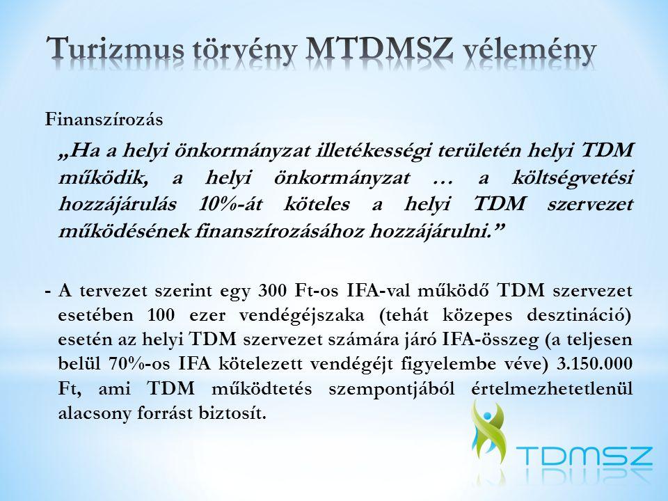 Javaslat a helyi TDM finanszírozására: - a helyi idegenforgalmi adó és annak összegéhez igazodó költségvetési hozzájárulás együttes összegének 40%-a - a turisztikai hozzájárulás összegének 30%-a - desztinációs turisztikai hozzájárulás 40%-a
