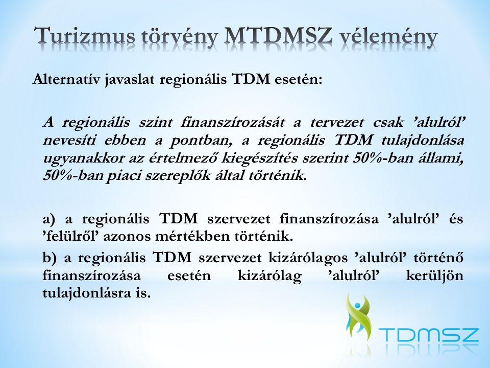 Alternatív javaslat regionális TDM esetén: A regionális szint finanszírozását a tervezet csak 'alulról' nevesíti ebben a pontban, a regionális TDM tul