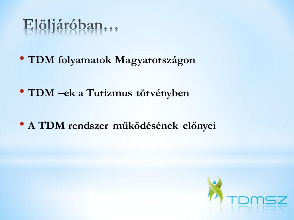 2000 körül A Széchenyi Terv egészségturisztikai programjában, elsősorban gyógyhelyi igazgatóságként 2002Gyenesdiási Turisztikai Egyesület, mint első TDM szervezet létrehozatala 2005A Nemzeti Turizmusfejlesztési Stratégia 2005-2013 egyik prioritása 2007A Nemzeti Fejlesztési Tervben és egyúttal az európai uniós támogatási programokban szerepel 2009 Az Új Magyarország Fejlesztési Terv részeként kiírásra kerül az első ROP TDM pályázat, főleg helyi TDM szervezeteknek 2010Nemzetgazdasági Minisztérium TDM regisztráció 2011Helyi és térségi ROP TDM pályázat az Új Széchenyi Terv keretében Balatoni Regionális TDM Szövetség Magyar TDM Szövetség 2012TDM-ek a Turizmus Törvényben