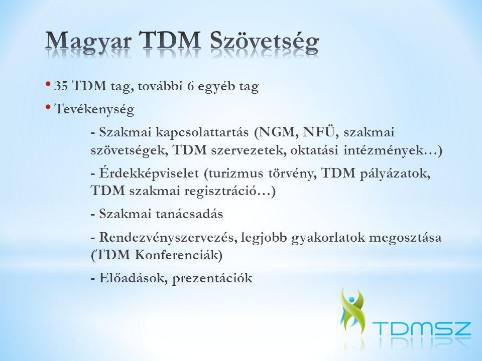 • 35 TDM tag, további 6 egyéb tag • Tevékenység - Szakmai kapcsolattartás (NGM, NFÜ, szakmai szövetségek, TDM szervezetek, oktatási intézmények…) - Ér