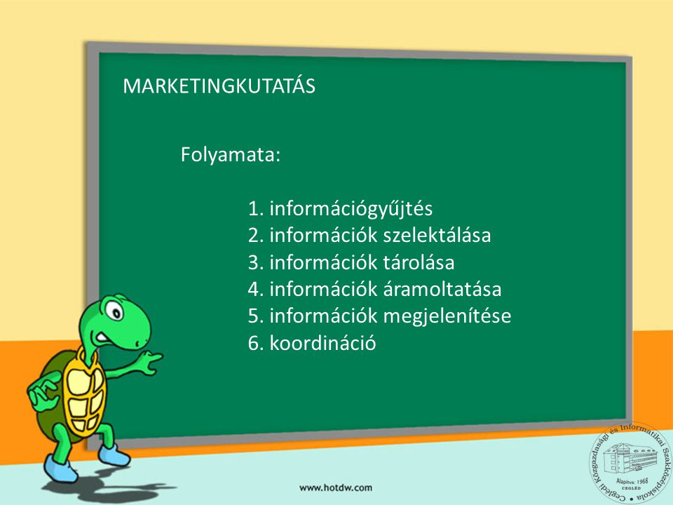 A MARKETINGKUTATÁS TERÜLETEI 1.A fogyasztói szokások 2.A fogyasztói igények 3.Termékbevezetéshez tanácsadás 4.Értékesítési csatornák felmérése 5.Lojalitás- és elégedettségvizsgálat 6.Reklámkutatás 7.Rendezvénykutatás 8.Szervezetkutatás 9.Szolgáltatás-kutatás 10.Versenytárs-analízis