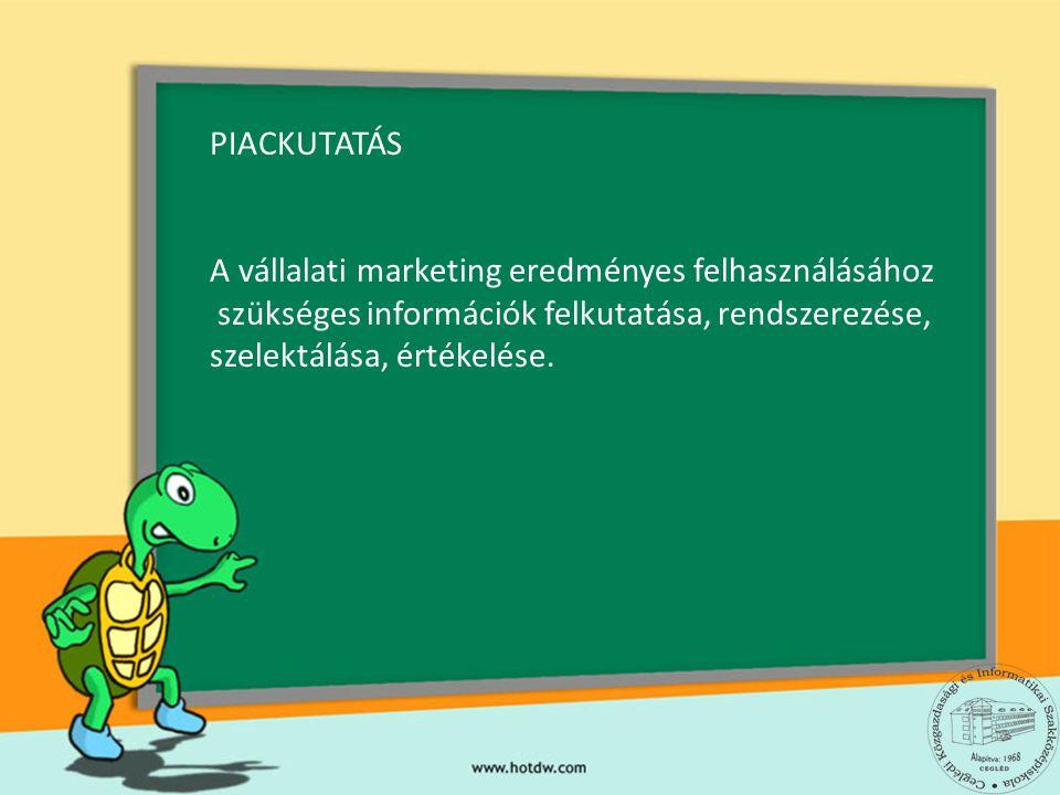 PIACKUTATÁS A vállalati marketing eredményes felhasználásához szükséges információk felkutatása, rendszerezése, szelektálása, értékelése.