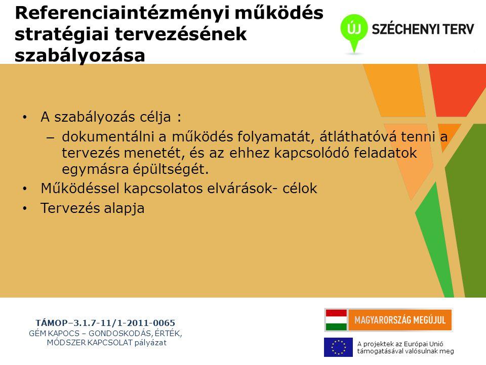 TÁMOP–3.1.7-11/1-2011-0065 GÉM KAPOCS – GONDOSKODÁS, ÉRTÉK, MÓDSZER KAPCSOLAT pályázat A projektek az Európai Unió támogatásával valósulnak meg Referenciaintézményi működés stratégiai tervezésének szabályozása • A szabályozás célja : – dokumentálni a működés folyamatát, átláthatóvá tenni a tervezés menetét, és az ehhez kapcsolódó feladatok egymásra épültségét.