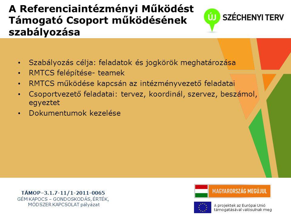 TÁMOP–3.1.7-11/1-2011-0065 GÉM KAPOCS – GONDOSKODÁS, ÉRTÉK, MÓDSZER KAPCSOLAT pályázat A projektek az Európai Unió támogatásával valósulnak meg A Referenciaintézményi Működést Támogató Csoport működésének szabályozása • Szabályozás célja: feladatok és jogkörök meghatározása • RMTCS felépítése- teamek • RMTCS működése kapcsán az intézményvezető feladatai • Csoportvezető feladatai: tervez, koordinál, szervez, beszámol, egyeztet • Dokumentumok kezelése