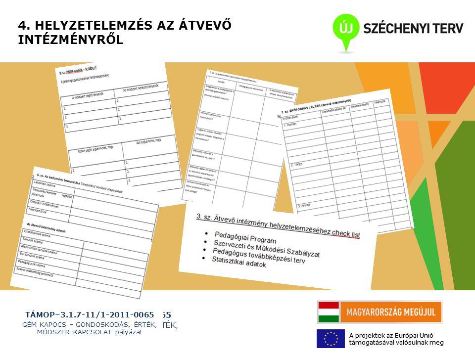 TÁMOP–3.1.7-11/1-2011-0065 GÉM KAPOCS – GONDOSKODÁS, ÉRTÉK, MÓDSZER KAPCSOLAT pályázat A projektek az Európai Unió támogatásával valósulnak meg 4.