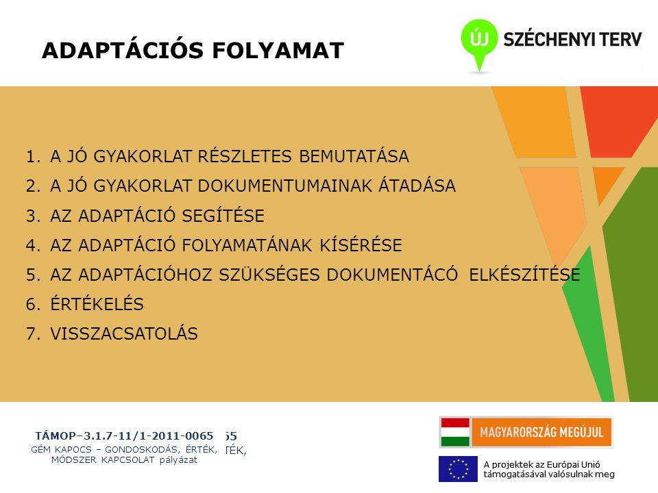 TÁMOP–3.1.7-11/1-2011-0065 GÉM KAPOCS – GONDOSKODÁS, ÉRTÉK, MÓDSZER KAPCSOLAT pályázat A projektek az Európai Unió támogatásával valósulnak meg TÁMOP–3.1.7-11/1-2011-0065 GÉM KAPOCS – GONDOSKODÁS, ÉRTÉK, MÓDSZER KAPCSOLAT pályázat A projektek az Európai Unió támogatásával valósulnak meg 1.A JÓ GYAKORLAT RÉSZLETES BEMUTATÁSA 2.A JÓ GYAKORLAT DOKUMENTUMAINAK ÁTADÁSA 3.AZ ADAPTÁCIÓ SEGÍTÉSE 4.AZ ADAPTÁCIÓ FOLYAMATÁNAK KÍSÉRÉSE 5.AZ ADAPTÁCIÓHOZ SZÜKSÉGES DOKUMENTÁCÓ ELKÉSZÍTÉSE 6.ÉRTÉKELÉS 7.VISSZACSATOLÁS ADAPTÁCIÓS FOLYAMAT