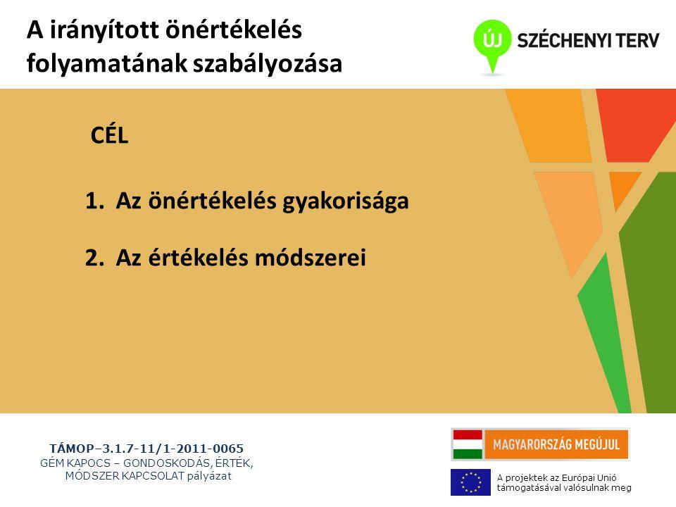 TÁMOP–3.1.7-11/1-2011-0065 GÉM KAPOCS – GONDOSKODÁS, ÉRTÉK, MÓDSZER KAPCSOLAT pályázat A projektek az Európai Unió támogatásával valósulnak meg A irányított önértékelés folyamatának szabályozása 1.