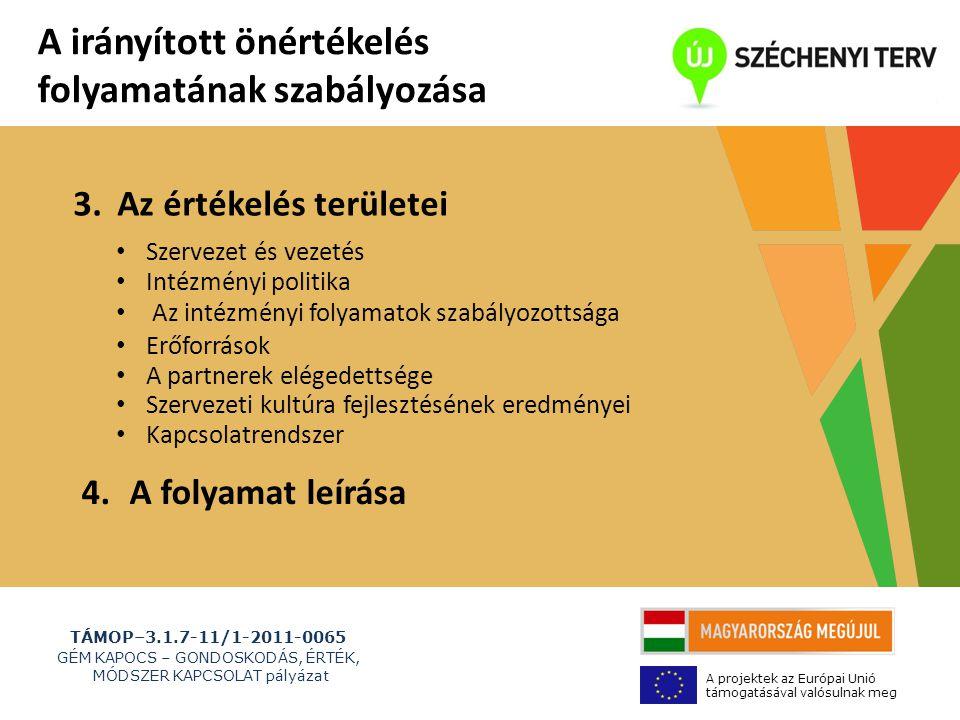 TÁMOP–3.1.7-11/1-2011-0065 GÉM KAPOCS – GONDOSKODÁS, ÉRTÉK, MÓDSZER KAPCSOLAT pályázat A projektek az Európai Unió támogatásával valósulnak meg 3.