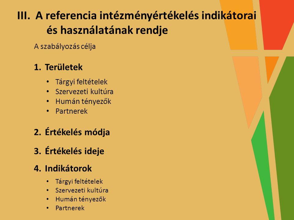 TÁMOP–3.1.7-11/1-2011-0065 GÉM KAPOCS – GONDOSKODÁS, ÉRTÉK, MÓDSZER KAPCSOLAT pályázat A projektek az Európai Unió támogatásával valósulnak meg III.A referencia intézményértékelés indikátorai és használatának rendje A szabályozás célja 1.Területek • Tárgyi feltételek • Szervezeti kultúra • Humán tényezők • Partnerek 2.Értékelés módja 3.Értékelés ideje 4.Indikátorok • Tárgyi feltételek • Szervezeti kultúra • Humán tényezők • Partnerek