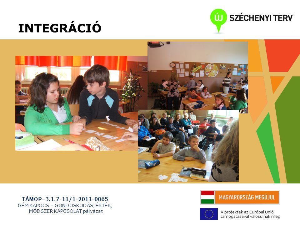 TÁMOP–3.1.7-11/1-2011-0065 GÉM KAPOCS – GONDOSKODÁS, ÉRTÉK, MÓDSZER KAPCSOLAT pályázat A projektek az Európai Unió támogatásával valósulnak meg INTEGRÁCIÓ