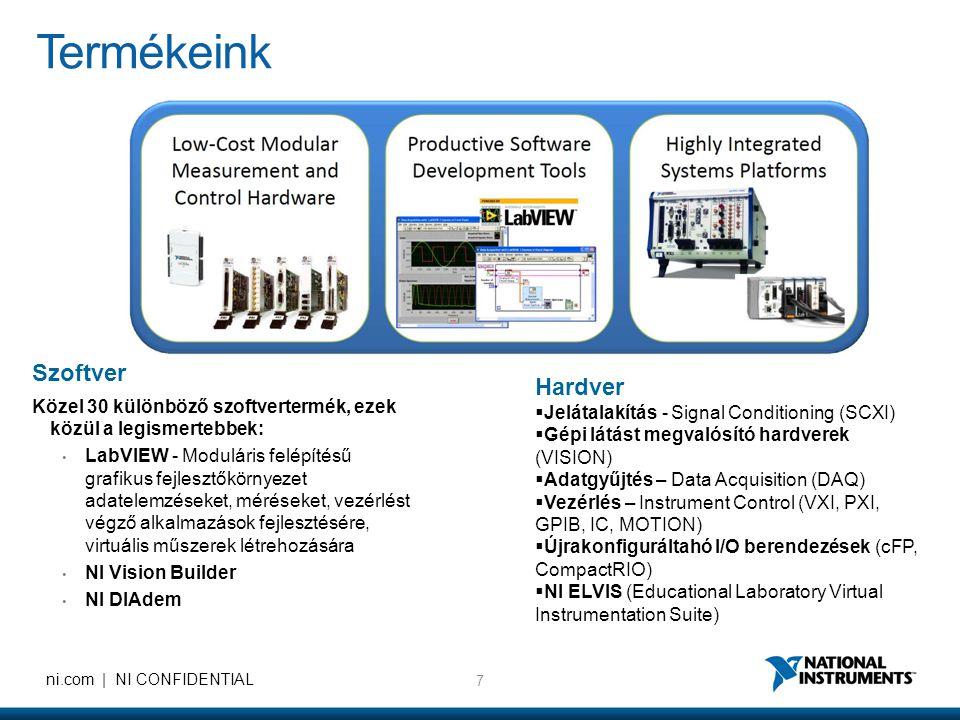 7 ni.com | NI CONFIDENTIAL Termékeink Szoftver Közel 30 különböző szoftvertermék, ezek közül a legismertebbek: • LabVIEW - Moduláris felépítésű grafikus fejlesztőkörnyezet adatelemzéseket, méréseket, vezérlést végző alkalmazások fejlesztésére, virtuális műszerek létrehozására • NI Vision Builder • NI DIAdem Hardver  Jelátalakítás - Signal Conditioning (SCXI)  Gépi látást megvalósító hardverek (VISION)  Adatgyűjtés – Data Acquisition (DAQ)  Vezérlés – Instrument Control (VXI, PXI, GPIB, IC, MOTION)  Újrakonfiguráltahó I/O berendezések (cFP, CompactRIO)  NI ELVIS (Educational Laboratory Virtual Instrumentation Suite)
