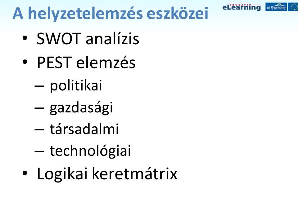 A helyzetelemzés eszközei • SWOT analízis • PEST elemzés – politikai – gazdasági – társadalmi – technológiai • Logikai keretmátrix