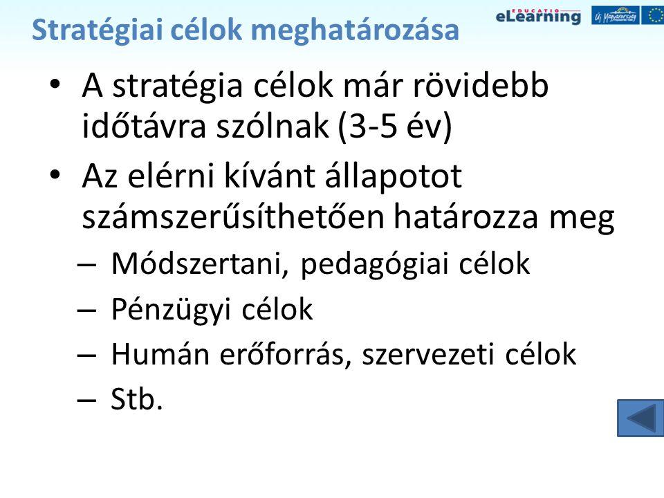 Stratégiai célok meghatározása • A stratégia célok már rövidebb időtávra szólnak (3-5 év) • Az elérni kívánt állapotot számszerűsíthetően határozza me