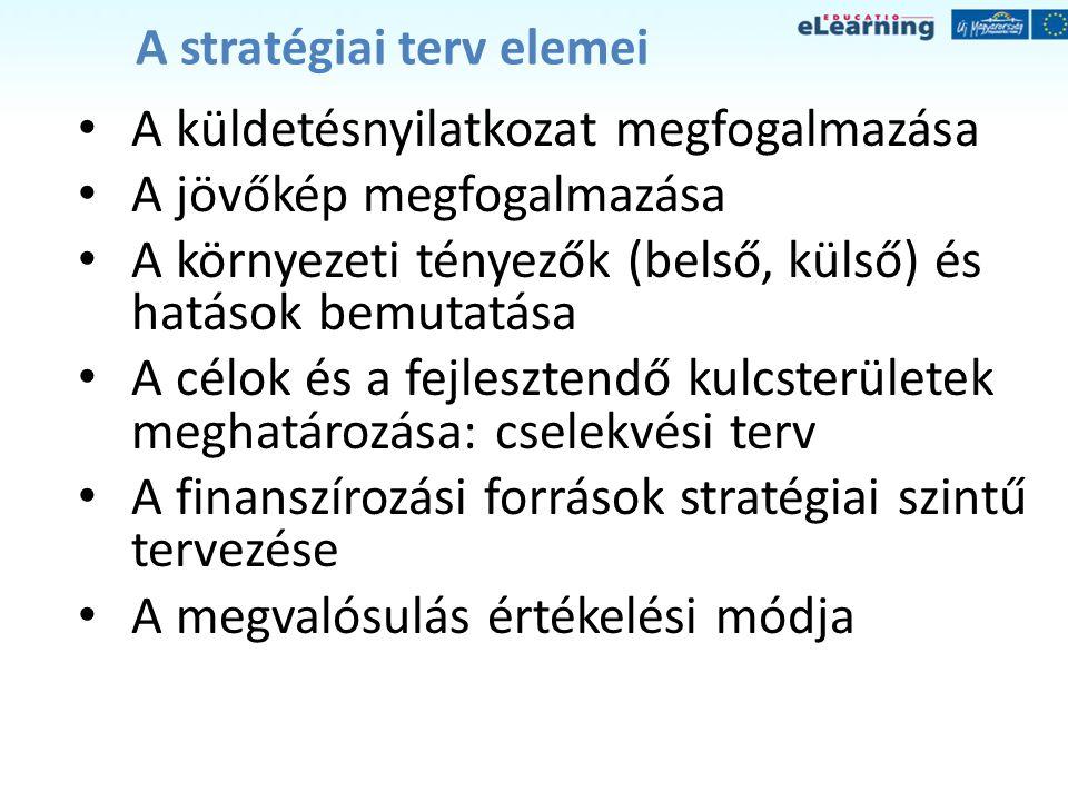 A stratégiai terv elemei • A küldetésnyilatkozat megfogalmazása • A jövőkép megfogalmazása • A környezeti tényezők (belső, külső) és hatások bemutatás
