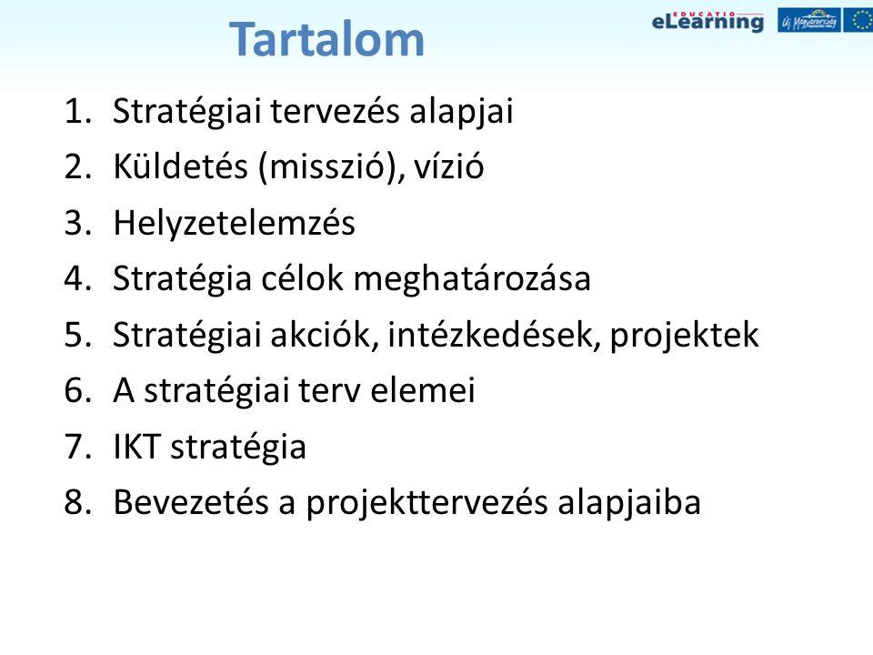 Tartalom 1.Stratégiai tervezés alapjai 2.Küldetés (misszió), vízió 3.Helyzetelemzés 4.Stratégia célok meghatározása 5.Stratégiai akciók, intézkedések,