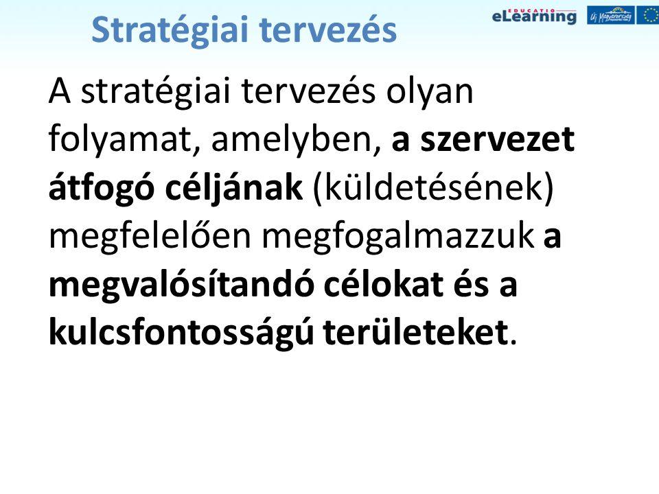 Stratégiai tervezés A stratégiai tervezés olyan folyamat, amelyben, a szervezet átfogó céljának (küldetésének) megfelelően megfogalmazzuk a megvalósít