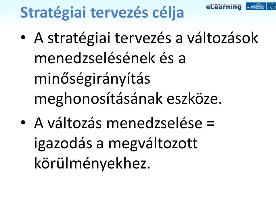A stratégiai tervezés jellemzői • folyamatos tevékenység • összekapcsolja a különböző folyamatokat • cselekvés- és jövő orientált • közös erőfeszítésen és közös célkitűzésen alapszik • csoportmunka eredménye
