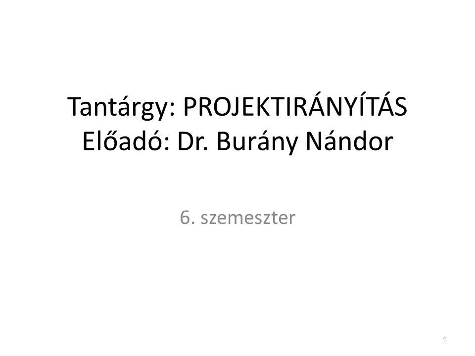 Tantárgy: PROJEKTIRÁNYÍTÁS Előadó: Dr. Burány Nándor 6. szemeszter 1