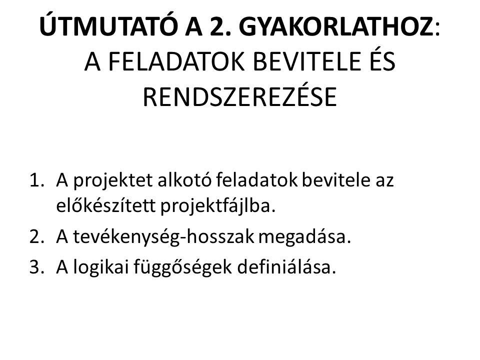ÚTMUTATÓ A 2. GYAKORLATHOZ: A FELADATOK BEVITELE ÉS RENDSZEREZÉSE 1.A projektet alkotó feladatok bevitele az előkészített projektfájlba. 2.A tevékenys