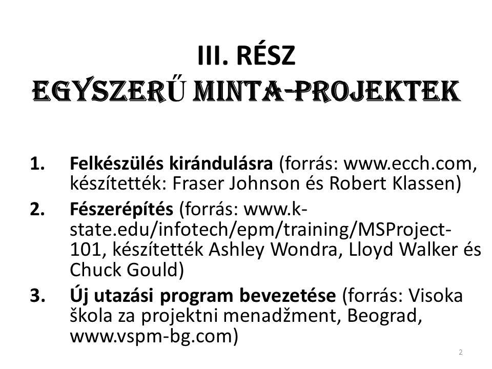III. RÉSZ EGYSZER Ű MINTA-PROJEKTEK 1.Felkészülés kirándulásra (forrás: www.ecch.com, készítették: Fraser Johnson és Robert Klassen) 2.Fészerépítés (f