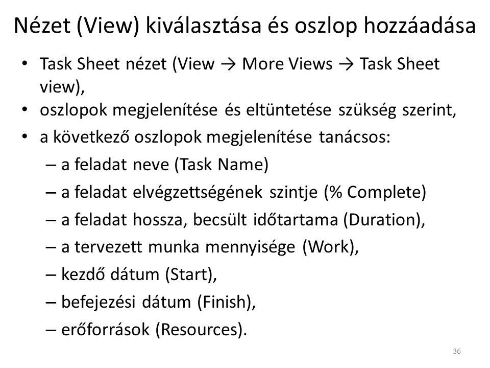 Nézet (View) kiválasztása és oszlop hozzáadása • Task Sheet nézet (View → More Views → Task Sheet view), • oszlopok megjelenítése és eltüntetése szüks