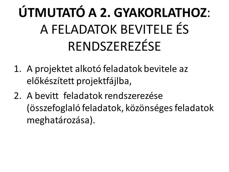ÚTMUTATÓ A 2. GYAKORLATHOZ: A FELADATOK BEVITELE ÉS RENDSZEREZÉSE 1.A projektet alkotó feladatok bevitele az előkészített projektfájlba, 2.A bevitt fe