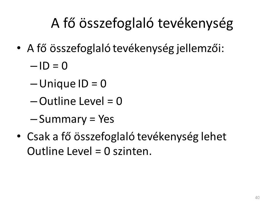 A fő összefoglaló tevékenység • A fő összefoglaló tevékenység jellemzői: – ID = 0 – Unique ID = 0 – Outline Level = 0 – Summary = Yes • Csak a fő össz