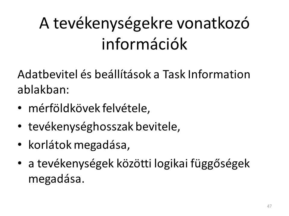 A tevékenységekre vonatkozó információk Adatbevitel és beállítások a Task Information ablakban: • mérföldkövek felvétele, • tevékenységhosszak bevitel