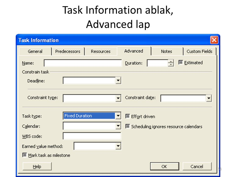 Task Information ablak, Advanced lap 51