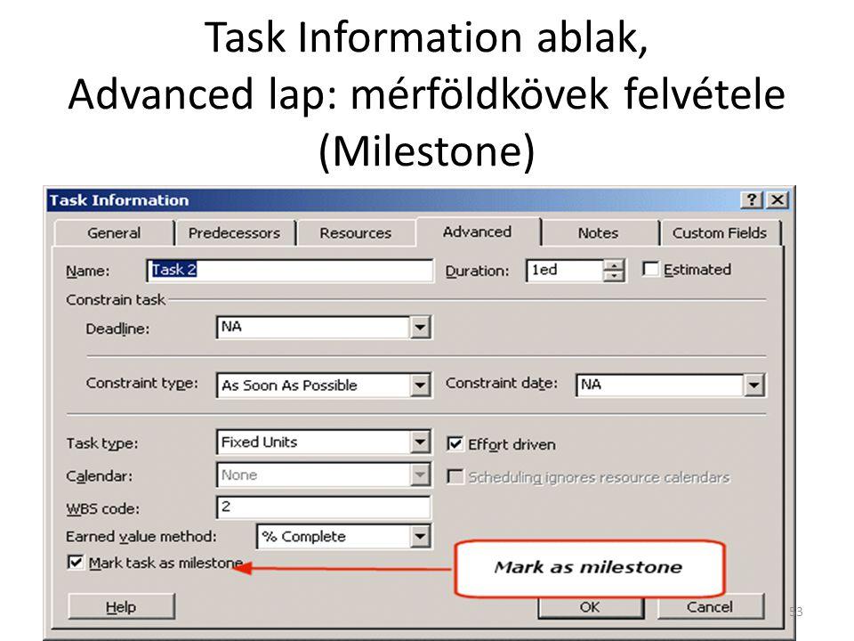 Task Information ablak, Advanced lap: mérföldkövek felvétele (Milestone) 53