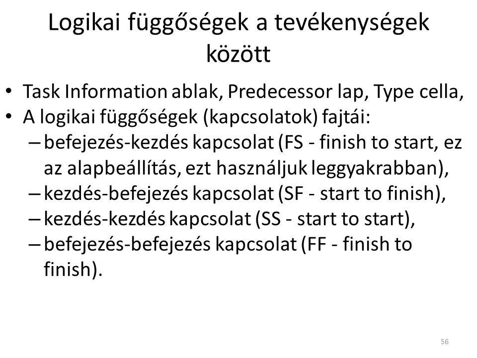Logikai függőségek a tevékenységek között • Task Information ablak, Predecessor lap, Type cella, • A logikai függőségek (kapcsolatok) fajtái: – befeje