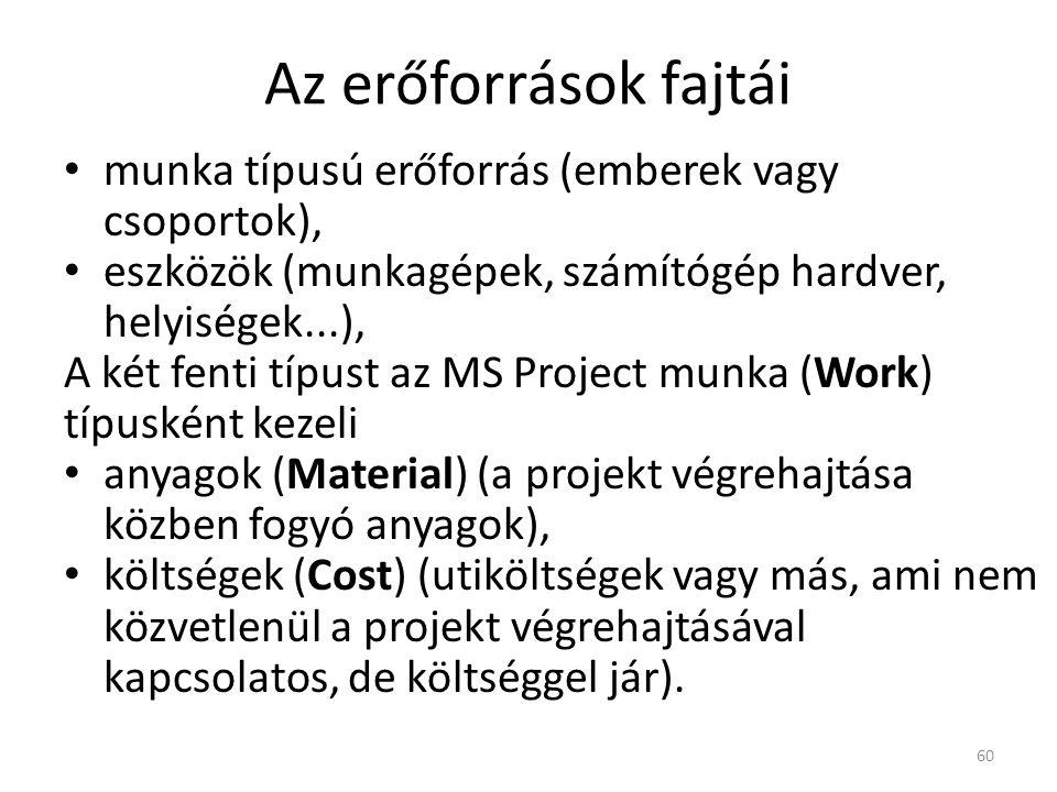 Az erőforrások fajtái • munka típusú erőforrás (emberek vagy csoportok), • eszközök (munkagépek, számítógép hardver, helyiségek...), A két fenti típus