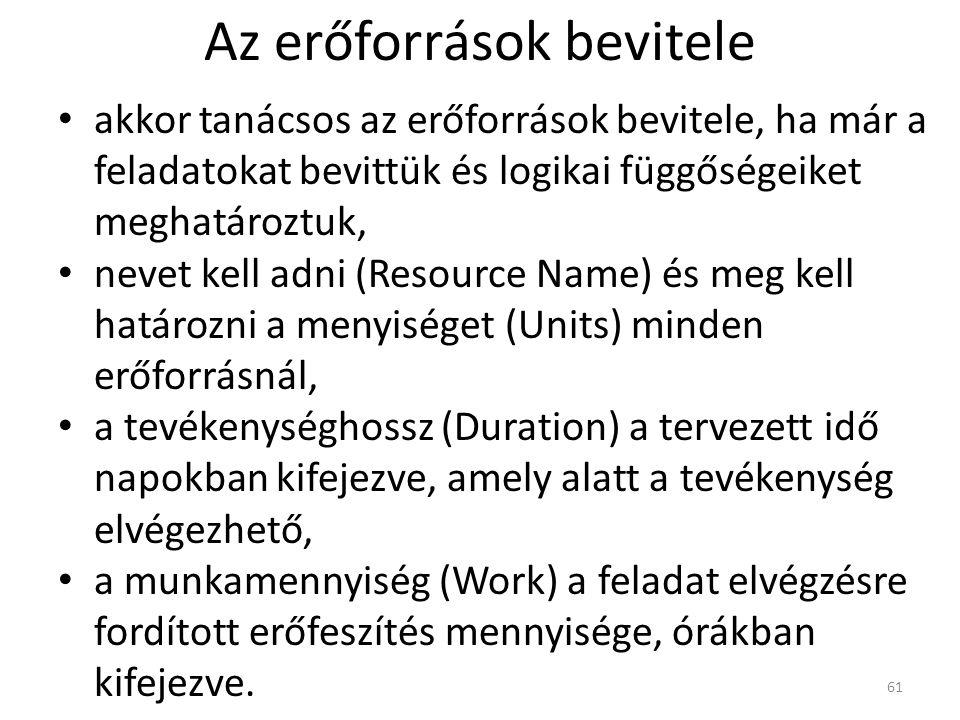 Az erőforrások bevitele • akkor tanácsos az erőforrások bevitele, ha már a feladatokat bevittük és logikai függőségeiket meghatároztuk, • nevet kell a