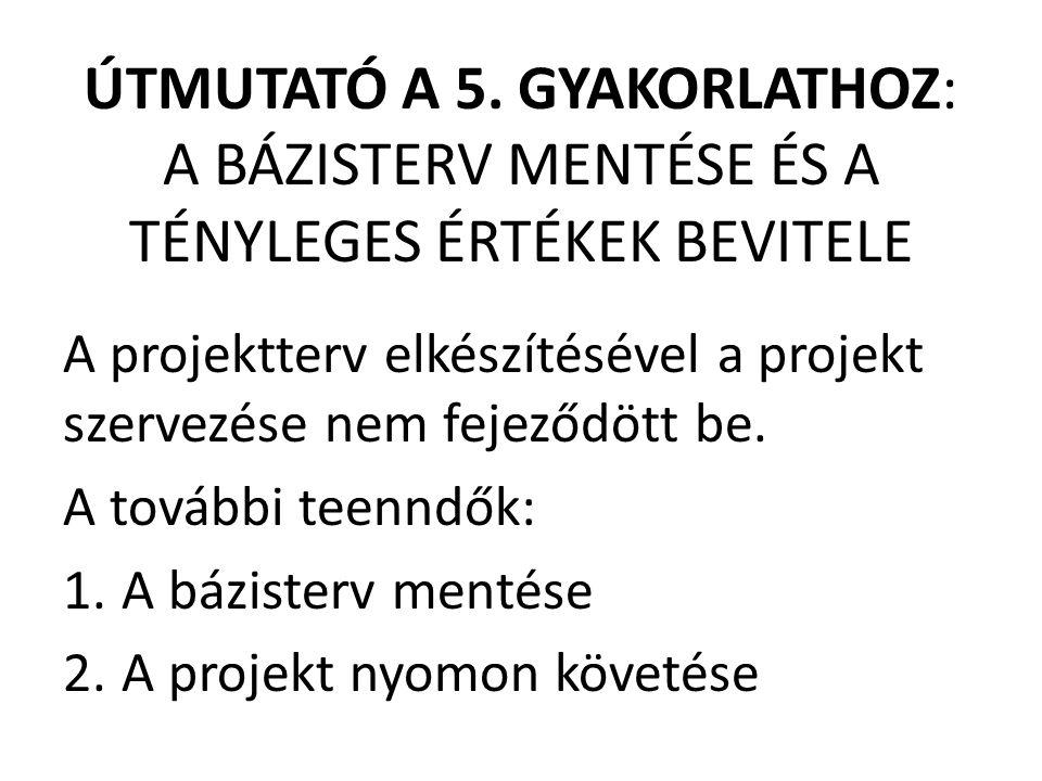 ÚTMUTATÓ A 5. GYAKORLATHOZ: A BÁZISTERV MENTÉSE ÉS A TÉNYLEGES ÉRTÉKEK BEVITELE A projektterv elkészítésével a projekt szervezése nem fejeződött be. A
