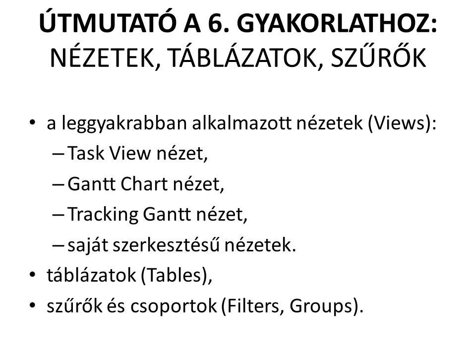 ÚTMUTATÓ A 6. GYAKORLATHOZ: NÉZETEK, TÁBLÁZATOK, SZŰRŐK • a leggyakrabban alkalmazott nézetek (Views): – Task View nézet, – Gantt Chart nézet, – Track
