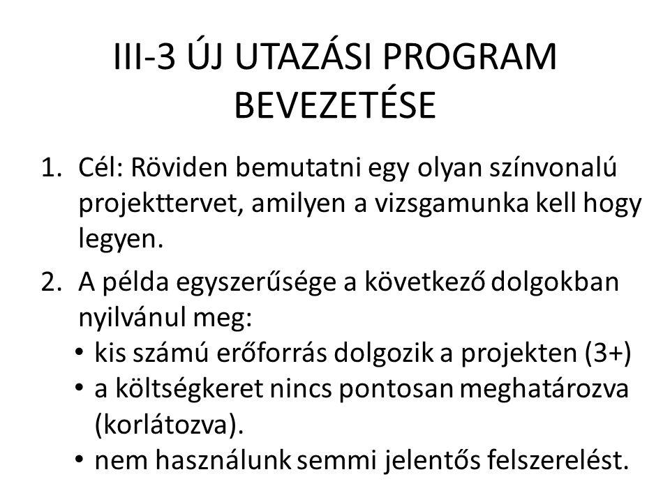 III-3 ÚJ UTAZÁSI PROGRAM BEVEZETÉSE 1.Cél: Röviden bemutatni egy olyan színvonalú projekttervet, amilyen a vizsgamunka kell hogy legyen. 2.A példa egy