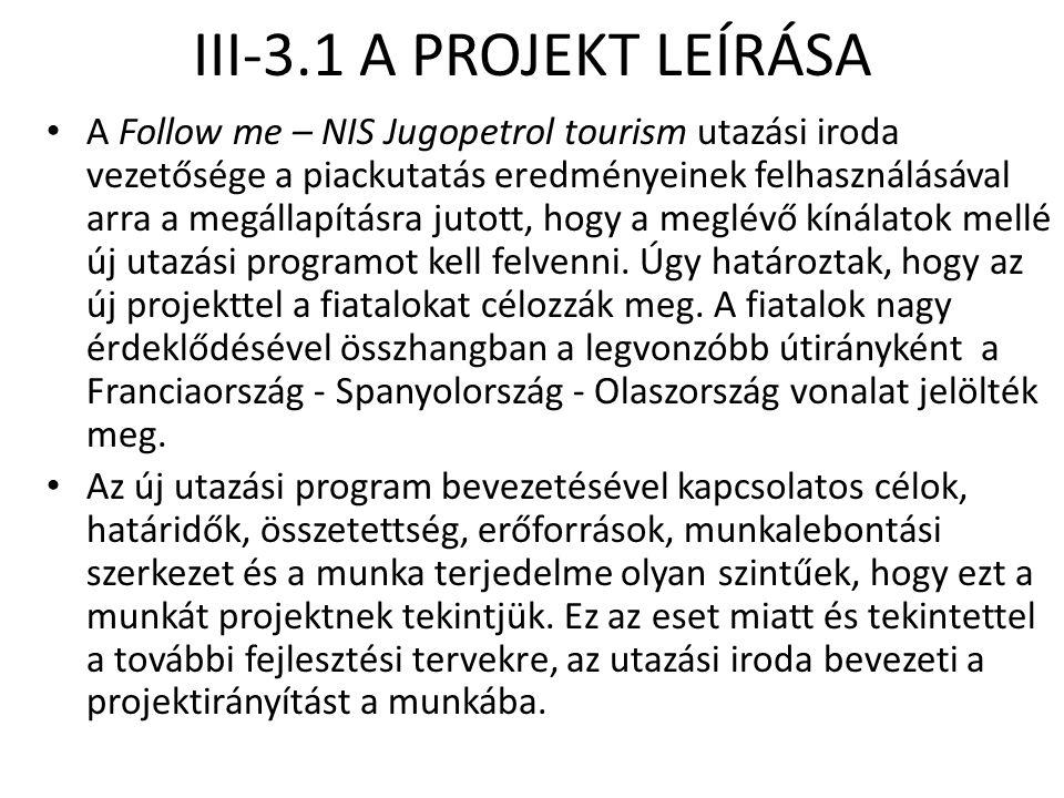 III-3.1 A PROJEKT LEÍRÁSA • A Follow me – NIS Jugopetrol tourism utazási iroda vezetősége a piackutatás eredményeinek felhasználásával arra a megállap