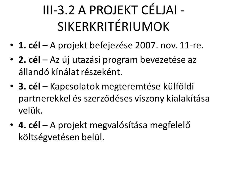 III-3.2 A PROJEKT CÉLJAI - SIKERKRITÉRIUMOK • 1. cél – A projekt befejezése 2007. nov. 11-re. • 2. cél – Az új utazási program bevezetése az állandó k