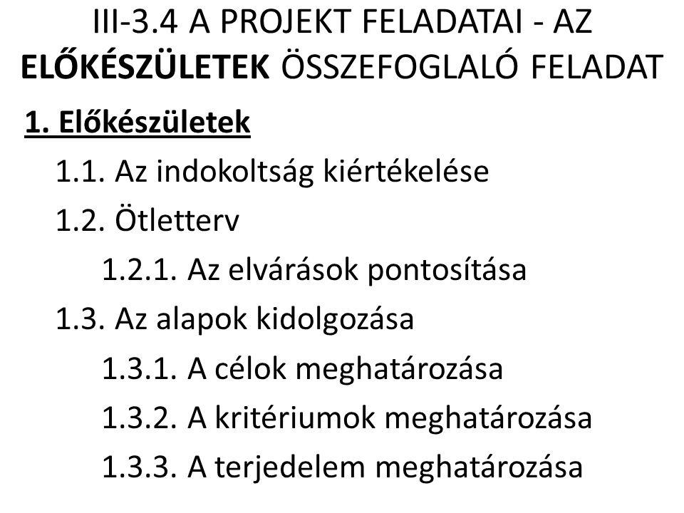 III-3.4 A PROJEKT FELADATAI - AZ ELŐKÉSZÜLETEK ÖSSZEFOGLALÓ FELADAT 1. Előkészületek 1.1. Az indokoltság kiértékelése 1.2. Ötletterv 1.2.1. Az elvárás