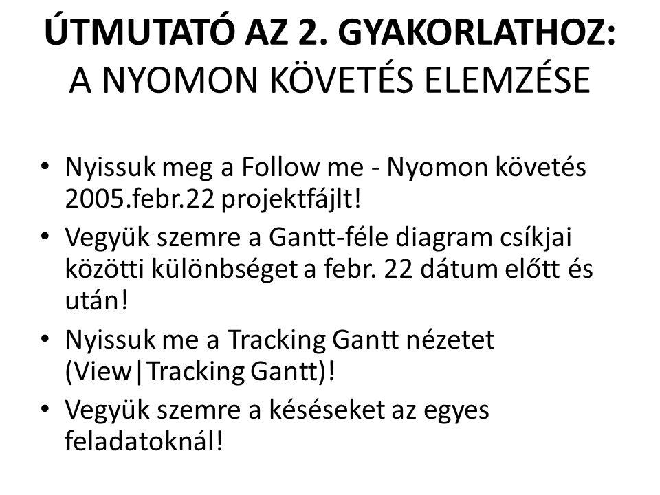 ÚTMUTATÓ AZ 2. GYAKORLATHOZ: A NYOMON KÖVETÉS ELEMZÉSE • Nyissuk meg a Follow me - Nyomon követés 2005.febr.22 projektfájlt! • Vegyük szemre a Gantt-f