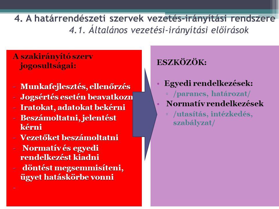 4. A határrendészeti szervek vezetés-irányítási rendszere 4.1. Általános vezetési-irányítási előírások A szakirányító szerv jogosultságai: -Munkafejle