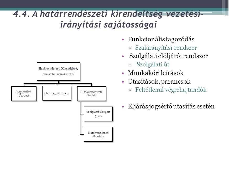 4.4. A határrendészeti kirendeltség vezetési- irányítási sajátosságai •Funkcionális tagozódás ▫Szakirányítási rendszer • Szolgálati elöljárói rendszer