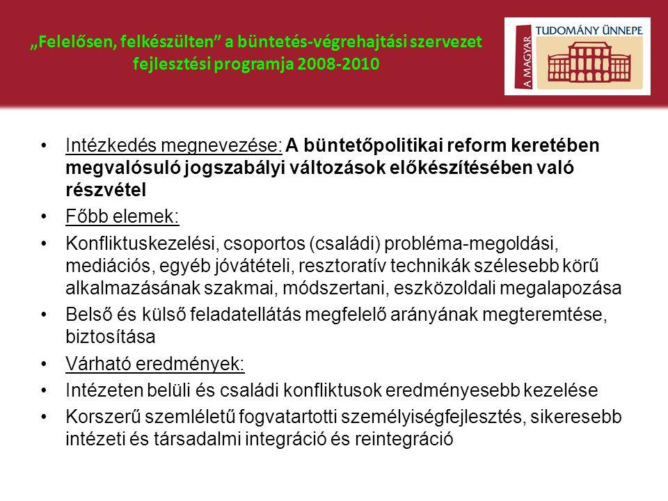 """""""Felelősen, felkészülten"""" a büntetés-végrehajtási szervezet fejlesztési programja 2008-2010 •Intézkedés megnevezése: A büntetőpolitikai reform keretéb"""