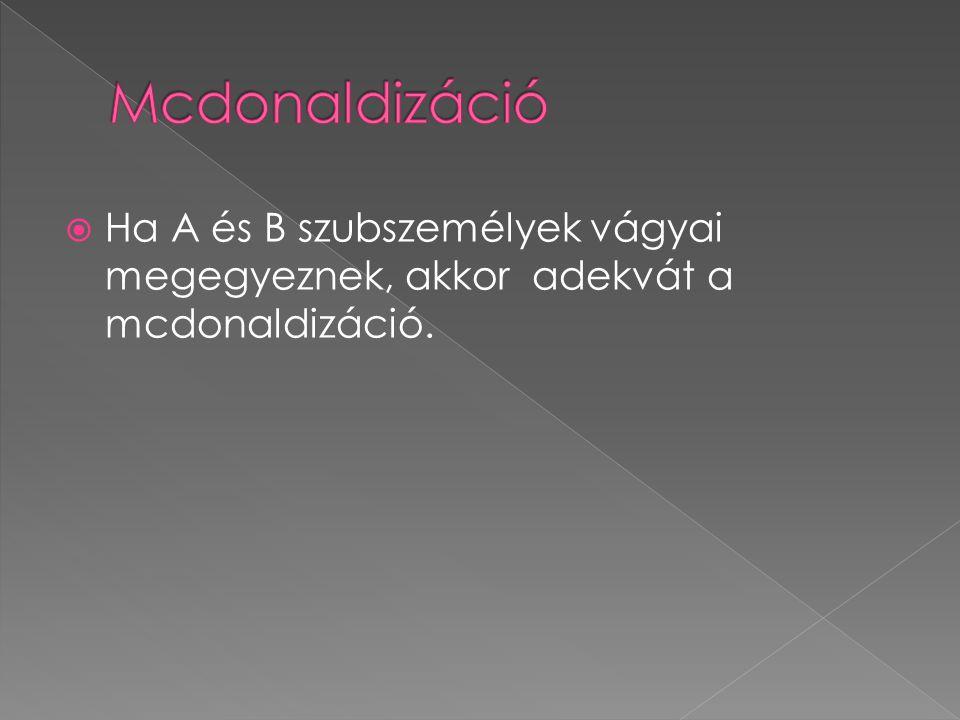  Ha A és B szubszemélyek vágyai megegyeznek, akkor adekvát a mcdonaldizáció.