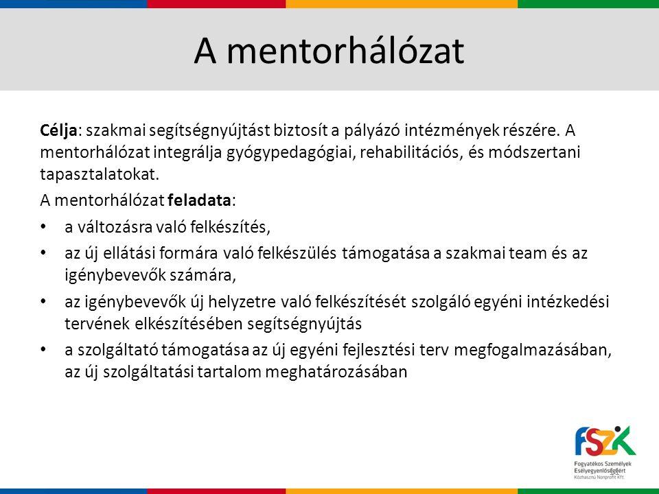A mentorhálózat Célja: szakmai segítségnyújtást biztosít a pályázó intézmények részére.