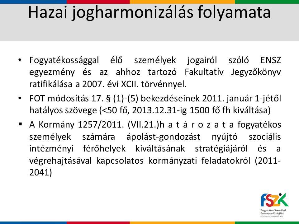 Hazai jogharmonizálás folyamata • Fogyatékossággal élő személyek jogairól szóló ENSZ egyezmény és az ahhoz tartozó Fakultatív Jegyzőkönyv ratifikálása a 2007.