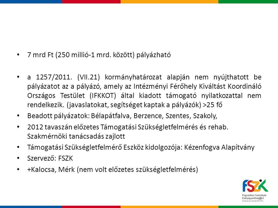 • 7 mrd Ft (250 millió-1 mrd.között) pályázható • a 1257/2011.